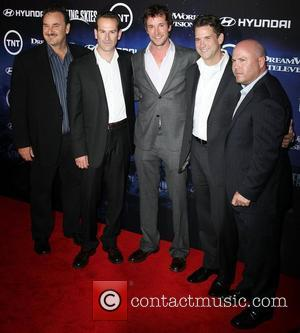 (L-R) Greg Beeman, Daryl Frank, Noah Wyle, Michael Wright, and Justin Falvey The Premiere of TNT And Dreamworks' 'Falling Skies'...