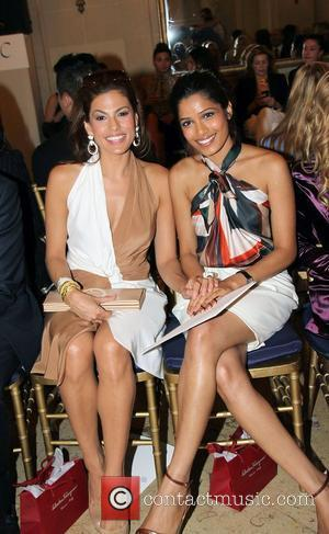 Eva Mendes and Frieda Pinto  The Ferragamo presentation for their Resort 2012 collection at the James B. Duke Mansion...