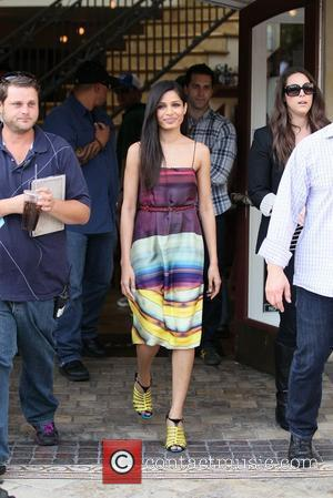 Freida Pinto  seen at The Grove filming an appearance on entertainment news programme 'Extra' Los Angeles, California - 09.11.11
