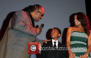 Stevie Wonder with his wife Kai Millard Morris and 2 sons 9th Annual GLAD Benefit Extravaganza held at The House...
