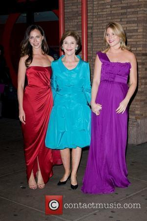 Laura Bush with daughters Barbara Bush and Jenna Bush Hager 21st annual Glamour Women of the Year Awards at Carnegie...