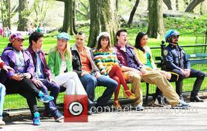 Glee cast filming on the set of 'Glee' on location at the Lincoln Center. New York City, USA - 26.04.11