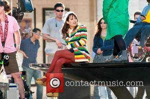 Lea Michele  filming on the set of 'Glee' on location at the Lincoln Center.  New York City, USA...