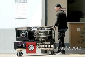 Benji Madden picking up his instruments in Studio City Los Angeles, California – 12.05.11