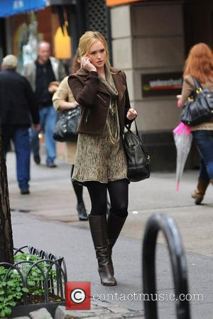 Kaylee DeFer talking on her cellphone on the set of 'Gossip Girl' filming on location in Manhattan. New York City,...