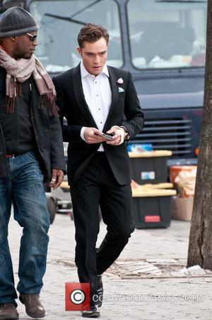 Ed Westwick on the set of 'Gossip Girl' on the Upper West Side  New York City, USA - 08.03.11