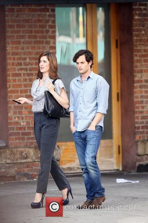 Penn Badgley and a new cast member on the set of 'Gossip Girl' shooting on location in Manhattan New York...
