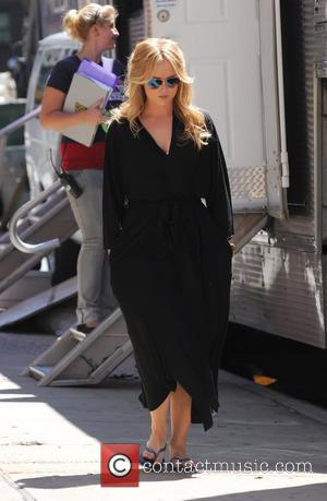 Kaylee Defer  in her dressing gown, walking to the set of 'Gossip Girl' New York City, USA - 30.08.11