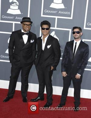 Bruno Mars (C),The Smeezingtons  The 53rd Annual GRAMMY Awards at the Staples Center - Red Carpet Arrivals Los Angeles,...