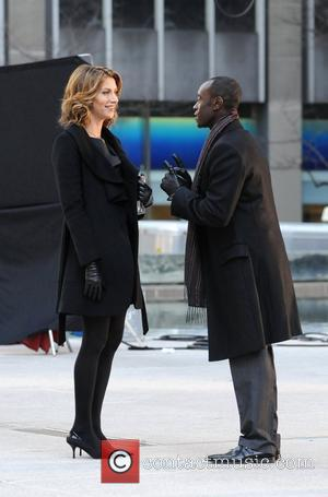 Dawn Olivieri and Don Cheadle shooting on location for Showtime's 'House of Lies' in New York City New York City,...