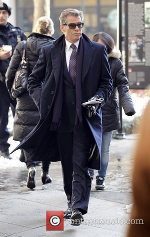 Pierce Brosnan on the set of his new movie 'I Don't Know How She Does It' in Manhattan New York...
