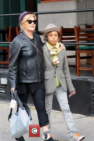 Deborra-Lee Furness and her son Oscar out and about in Tribeca New York City, USA - 23.10.11