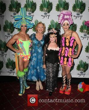 (L-R) Actor Nick Adams, actor Tony Sheldon, singer/actress Bette Midler, and actor Will Swenson   Bette Midler's Annual 'Hulaween'...