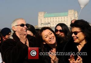 Annie Lennox, Cherie Lunghi and Bianca Jagger  attend photocall ahead of a march in aid of International Women's Day...