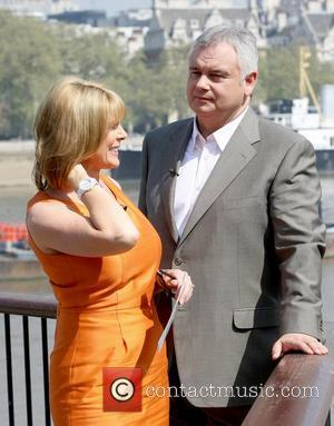 Ruth Langsford and Eamonn Holmes present 'This Morning' outside the ITV studios on a sunny day London, England - 20.04.11