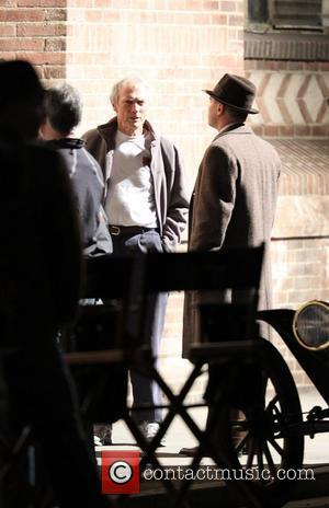 Leonardo DiCaprio and Clint Eastwood on the set of their new film 'J. Edgar' Los Angeles, California - 11.02.11