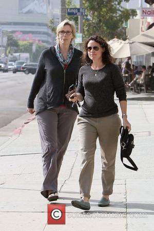 Glee star Jane Lynch and her partner Dr Lara Embry leave Kings Road Cafe on Beverly Boulevard Los Angeles, California...