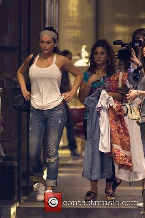 Jenni Farley aka JWoww and Deena Nicole Cortese 'Jersey Shore ' cast members shopping for clothes during a group outing...