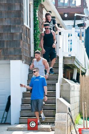 Vinny Guadagnino, Ronnie Ortiz-Magro, Paul DelVecchio aka Pauly D leaving their beach house during filming for MTV's 'Jersey Shore' Seaside...