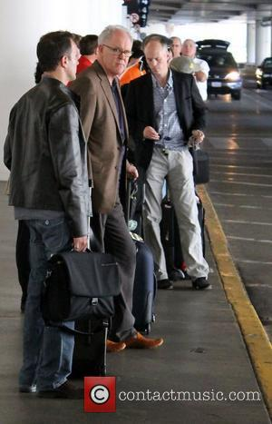 John Lithgow leaving LAX Airport in a taxi cab. Los Angeles, California - 16.10.11