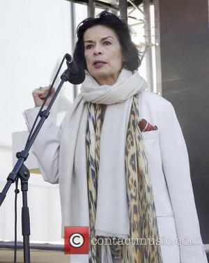 Bianca Jagger  attends Join Me On The Bridge photocall ahead of a march in aid of International Women's Day...