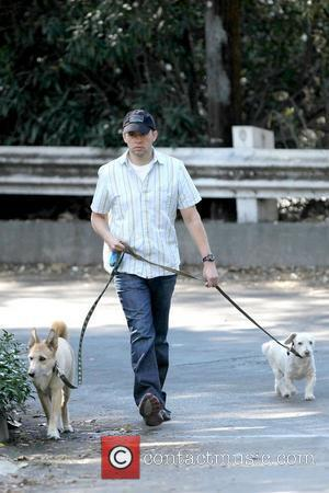 Two and a Half Men star, Jon Cryer walks his dogs in Studio City on a sunday morning. Los Angeles,...