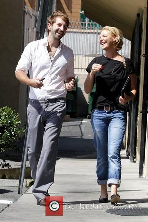 Josh Kelley and Katherine Heigl leaving a sushi restaurant in Los Feliz to go grocery shopping together Los Angeles, California...