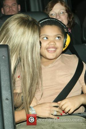 Katie Price and her son Harvey arrive into LAX on a flight from London. Harvey appears to be wearing noise...