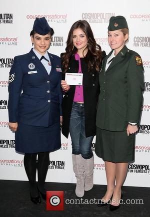 U.S. Service Women and Lucy Hale 3rd annual 'Kisses for the Troops' event on Veterans Day, held at Military Island,...