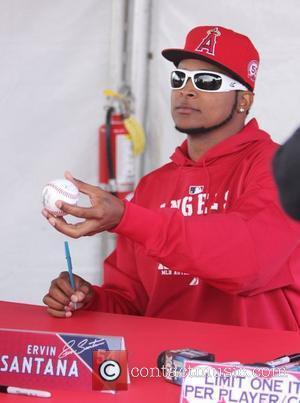 Ervin Santana attends the Los Angeles Angels of Anaheim 2011 Fan Fest at Angel Stadium Los Angeles, California, USA -...
