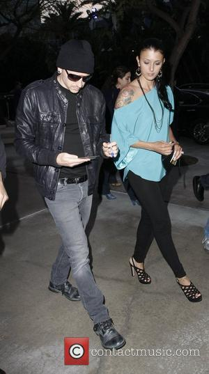 Chester Bennington of Linkin Park and his wife Talinda Celebrities arriving at the Staples Center for the Lakers game...