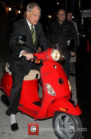 Regis Philbin Takes A Tumble During David Letterman's Scooter Sketch