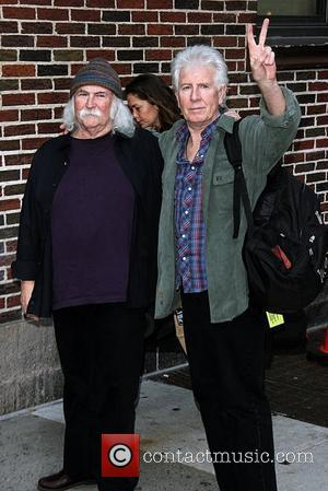 David Crosby and Graham Nash Celebrities at the Ed Sullivan Theater for the 'Late Show With David Letterman' - Departures...