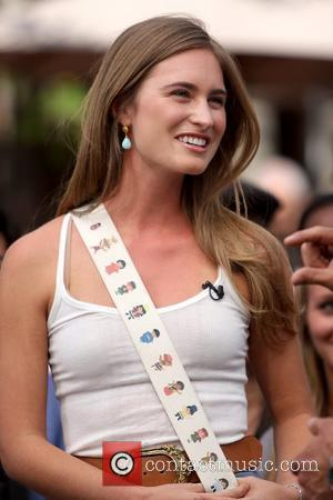 Lauren Bush filming an interview for entertainment television news programme 'Extra' at The Grove in Hollywood Los Angeles, California -...
