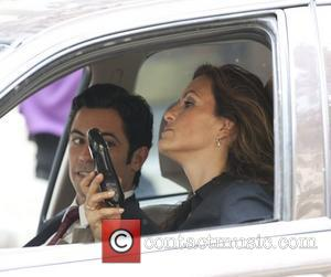 Danny Pino and Mariska Hargitay  on the set of 'Law & Order: SVU' shooting on location on the Upper...