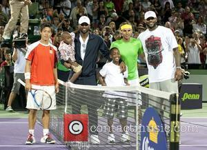 Kei Nishikori, Zion, Dwayne Wade, Zaire, Rafael Nadal and Lebron James The 2011 Sony Ericsson Open at Crandon Park Tennis...