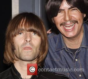 Liam Gallagher and Rain cast member Joe Bithorn Liam Gallagher and his band Beady Eye visit the cast of the...