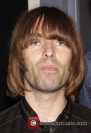 Liam Gallagher and his band Beady Eye visit the cast of the musical 'Rain: A Tribute To The Beatles On...