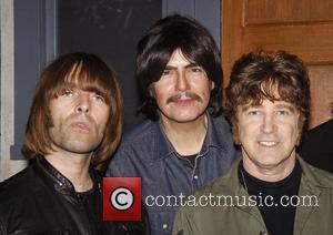 Liam Gallagher and Rain cast members Joe Bithorn and David Leon Liam Gallagher and his band Beady Eye visit the...