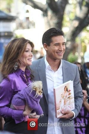 Lisa Vanderpump at The Grove filming an appearance with Mario Lopez for the entertainment news programme 'Extra' Los Angeles, California...