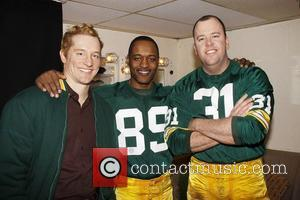 Bill Dawes, Javon Johnson and Chris Sullivan NY Jets owner Woody Johnson visits the cast of the Broadway production 'Lombardi'...