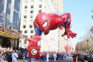 Spider Man balloon float,  at Macy's 85th Annual Thanksgiving Day Parade. New York, USA - 24.11.11