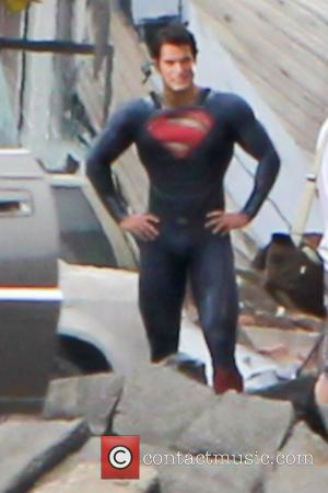 Henry Cavill dressed as Superman  filming on the set of the new Superman movie reboot 'Man of Steel'....
