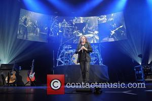 Fher Olvera of Mana  performing live in concert at the American Airlines Arena during the band's Drama y Luz...