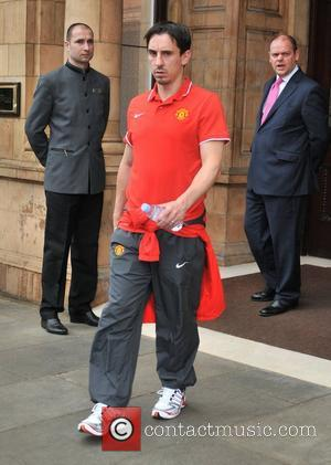 Gary Neville leaves his London hotel along with the rest of the Manchester United team London, England - 27.05.11