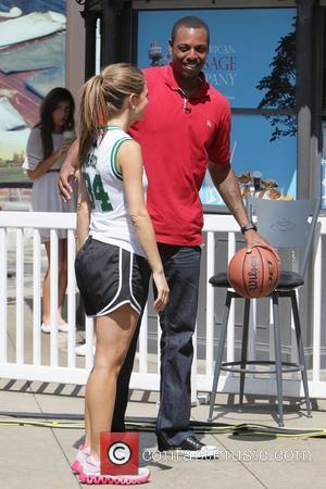 Paul Pierce and Maria Menounos appear on 'Extra' at The Grove to play basketball Los Angeles, California - 12.09.11