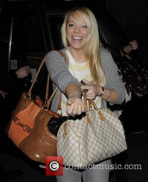 Liz McClarnon and her dog arriving at the Mayfair hotel for Capital DJ Greg Burns's birthday. London, England - 05.04.11