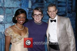 Montego Glover, Matthew Broderick and Adam Pascal Matthew Broderick visits the cast of the Broadway musical 'Memphis' backstage at the...