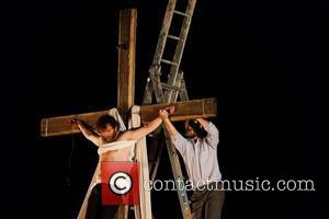 Michael Sheen is crucified during the three day long theatre production of 'The Passion'  Port Talbot, Wales - 24.04.11