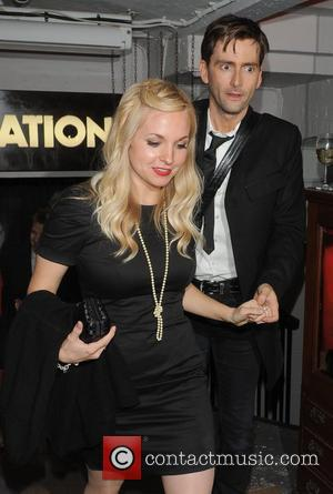 David Tennant and his fiancee Georgia Moffett leaving the afterparty for ' Much Ado About Nothing ' in Covent Garden....